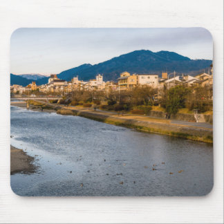 Panoramic view of Kamo River in Kyoto Mouse Pad