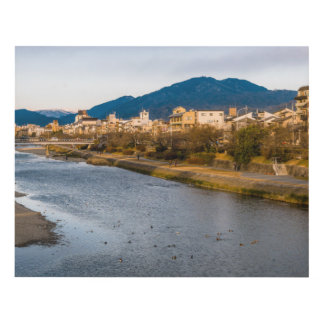 Panoramic view of Kamo River in Kyoto Panel Wall Art