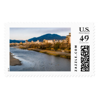 Panoramic view of Kamo River in Kyoto Postage
