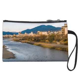 Panoramic view of Kamo River in Kyoto Suede Wristlet