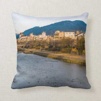 Panoramic view of Kamo River in Kyoto Throw Pillow