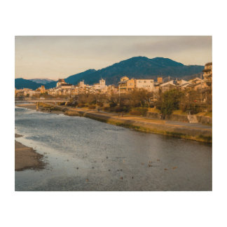 Panoramic view of Kamo River in Kyoto Wood Wall Art