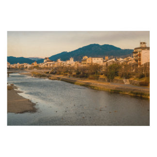 Panoramic view of Kamo River in Kyoto Wood Wall Decor