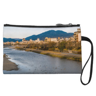 Panoramic view of Kamo River in Kyoto Wristlet Wallet