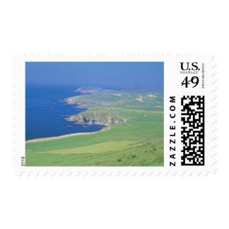 panoramic view of landscape and the sea postage