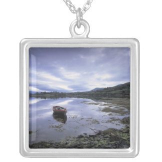 panoramic view of mountains and lake 3 silver plated necklace
