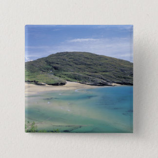 panoramic view of mountains and lake pinback button