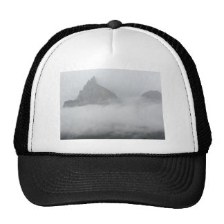 Panoramic view of mountains in the fog trucker hat