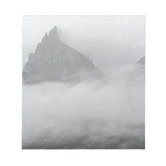 Panoramic view of mountains in the fog note pad