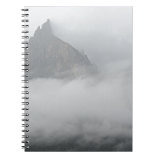 Panoramic view of mountains in the fog notebook