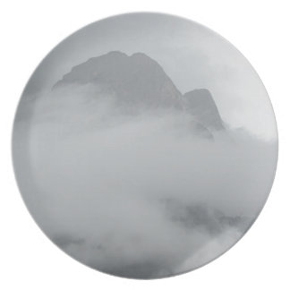 Panoramic view of mountains in the fog plate