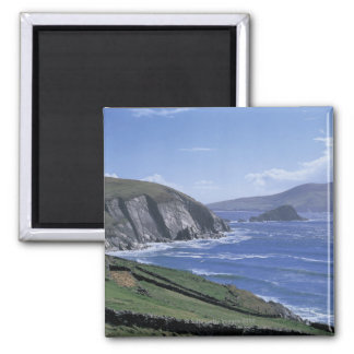 panoramic view of ocean waves crashing on a 2 inch square magnet