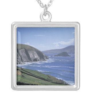 panoramic view of ocean waves crashing on a square pendant necklace