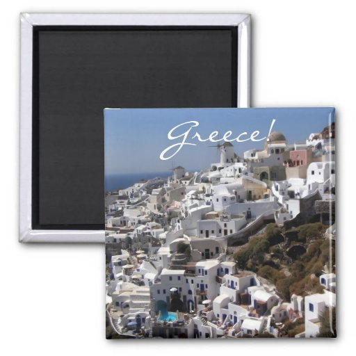 Panoramic view of Oia, Greece 2 Inch Square Magnet