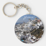 Panoramic view of Oia, Greece Basic Round Button Keychain