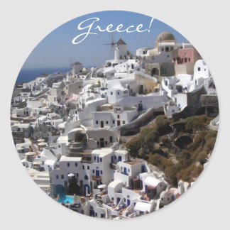 Panoramic view of Oia, Greece Classic Round Sticker