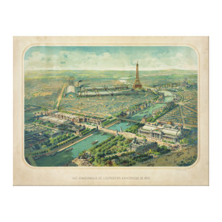 Panoramic view of Paris France Expo 1900 Canvas Print