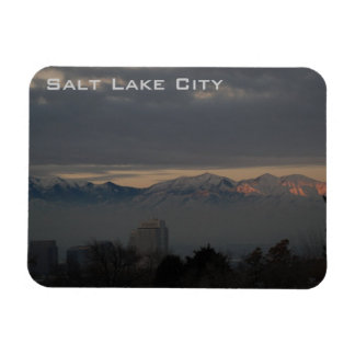 Panoramic View of Salt Lake City with inversion Rectangular Photo Magnet