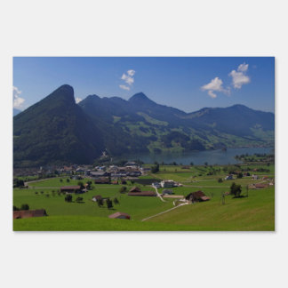 Panoramic view of Spiez Lawn Sign