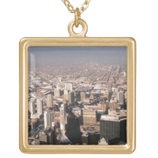 Panoramic view of the city gold plated necklace
