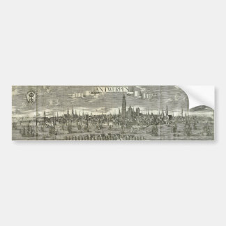 Panoramic View of the City of Antwerpen in 1730 Bumper Sticker