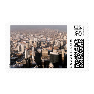 Panoramic view of the city postage