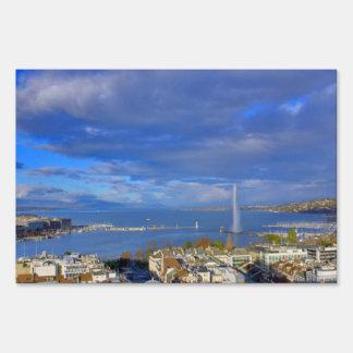 Panoramic view of the Geneva water jet Yard Sign