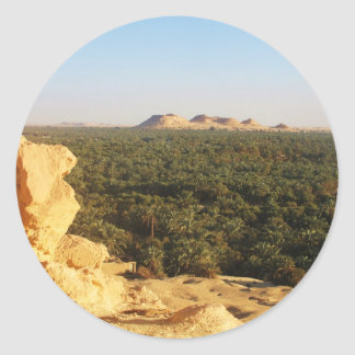 Panoramic View of the Palm Gardens in Siwa Oasis Classic Round Sticker