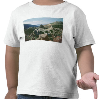 Panoramic view of the site with the tholos temple t-shirt