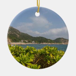Panoramic view of Tung O Village Lamma Island Ceramic Ornament