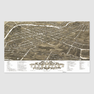 Panoramic View of Youngstown, Ohio (1882) Rectangular Sticker