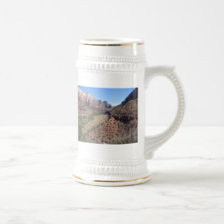 Panoramic View of Zion Canyon from The Watchman Beer Stein