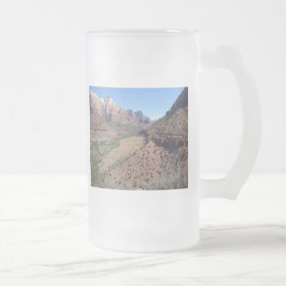 Panoramic View of Zion Canyon from The Watchman Frosted Glass Beer Mug