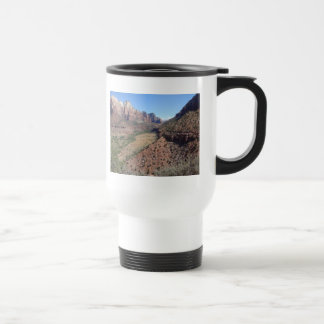 Panoramic View of Zion Canyon from The Watchman Travel Mug