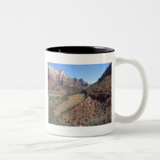 Panoramic View of Zion Canyon from The Watchman Two-Tone Coffee Mug