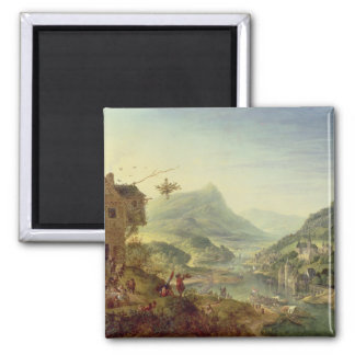Panoramic view on the Rhine (pair with 59649) 2 Inch Square Magnet