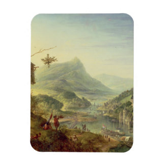 Panoramic view on the Rhine (pair with 59649) Rectangular Photo Magnet