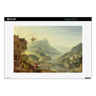 Panoramic view on the Rhine (pair with 59649) Skins For Laptops