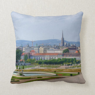 Panoramic View Over Vienna Austria From Belvedere Throw Pillow
