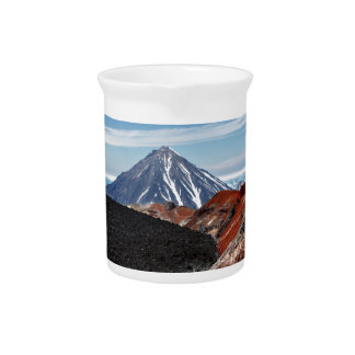 Panoramic volcano landscape: crater active volcano drink pitcher