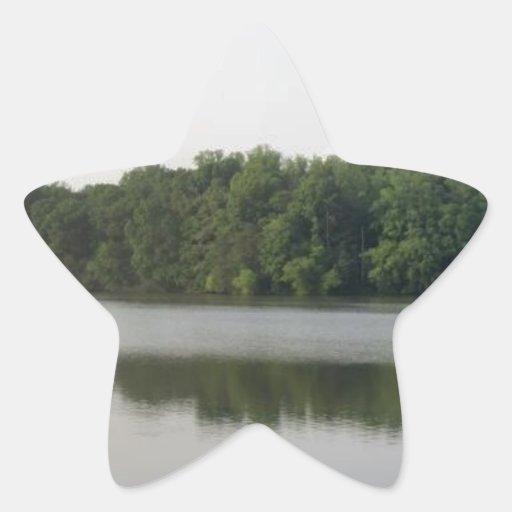 Panorámico del lago Accotink Pegatina En Forma De Estrella