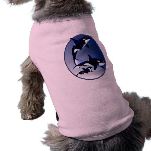 Paños ovales del mascota de la familia de la orca ropa de perros