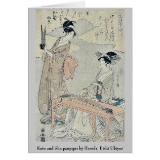 Panpipes del Koto y de Sho por Hosoda, Eishi Ukiyo Tarjeton