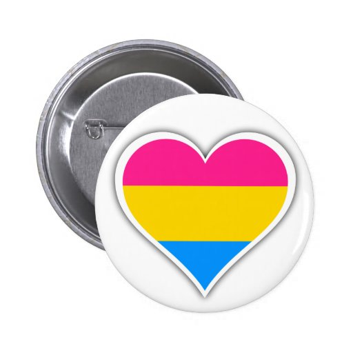 Pansexual flag heart button