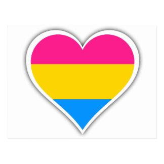 Pansexual flag heart postcard