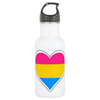 Pansexual flag heart stainless steel water bottle