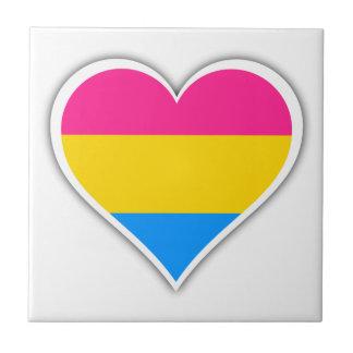Pansexual flag heart tile