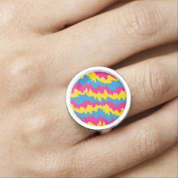Wedding Themed Pansexual Flag Patterns Photo Ring