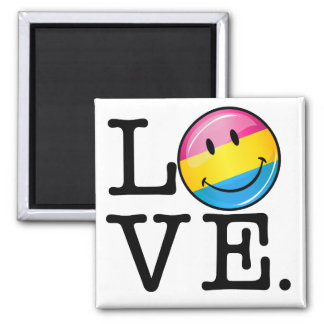 Pansexual Love Smiling Flag 2 Inch Square Magnet