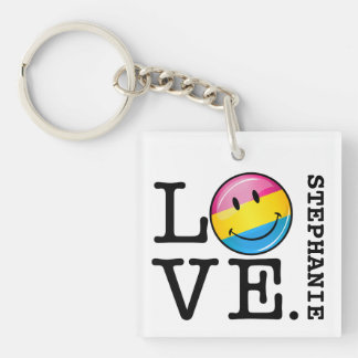 Pansexual Love Smiling Flag Single-Sided Square Acrylic Keychain